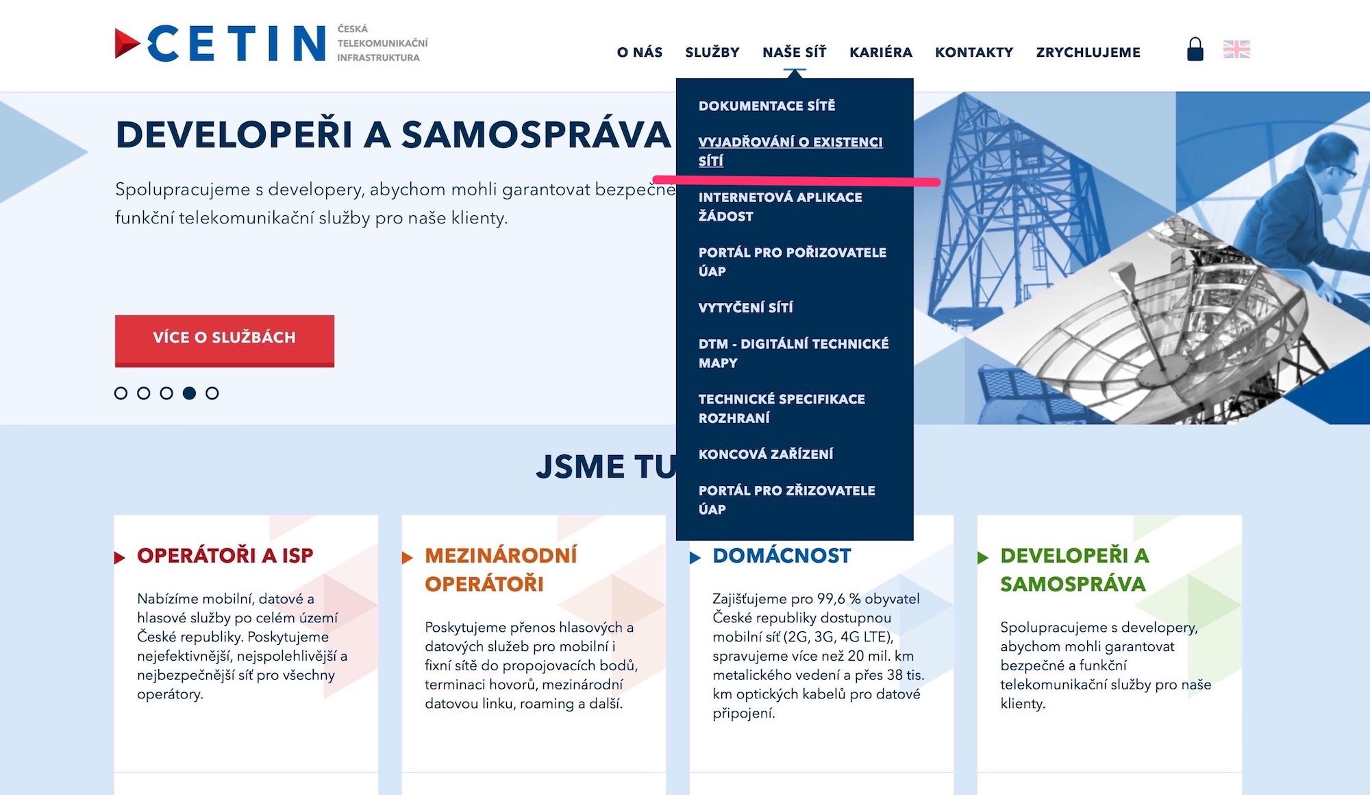 Obrazovka webu společnosti Cetin