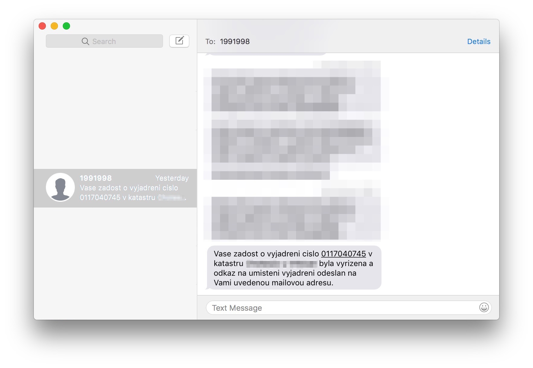 Obrázek obrazovky z aplikace iMessages