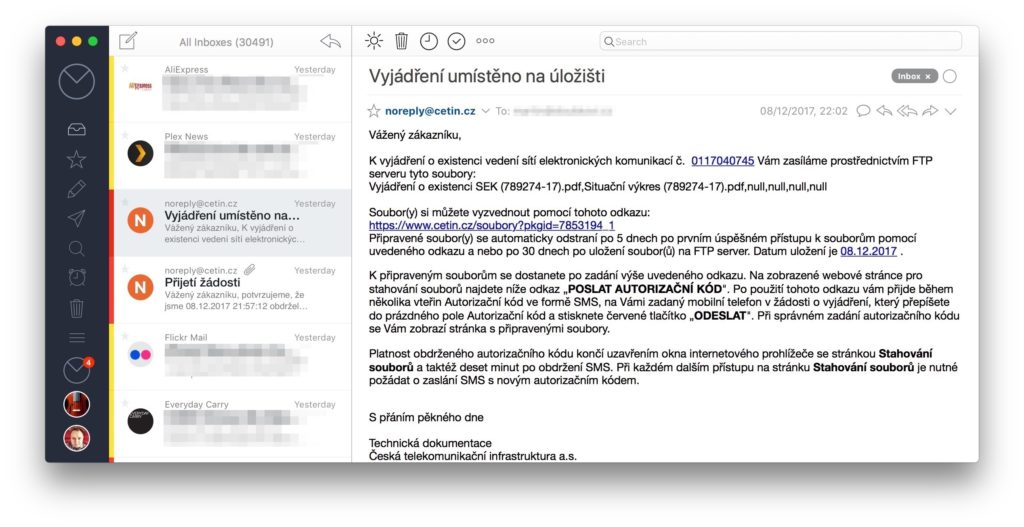 Obrazovka E-Mailové aplikace Airmail 3