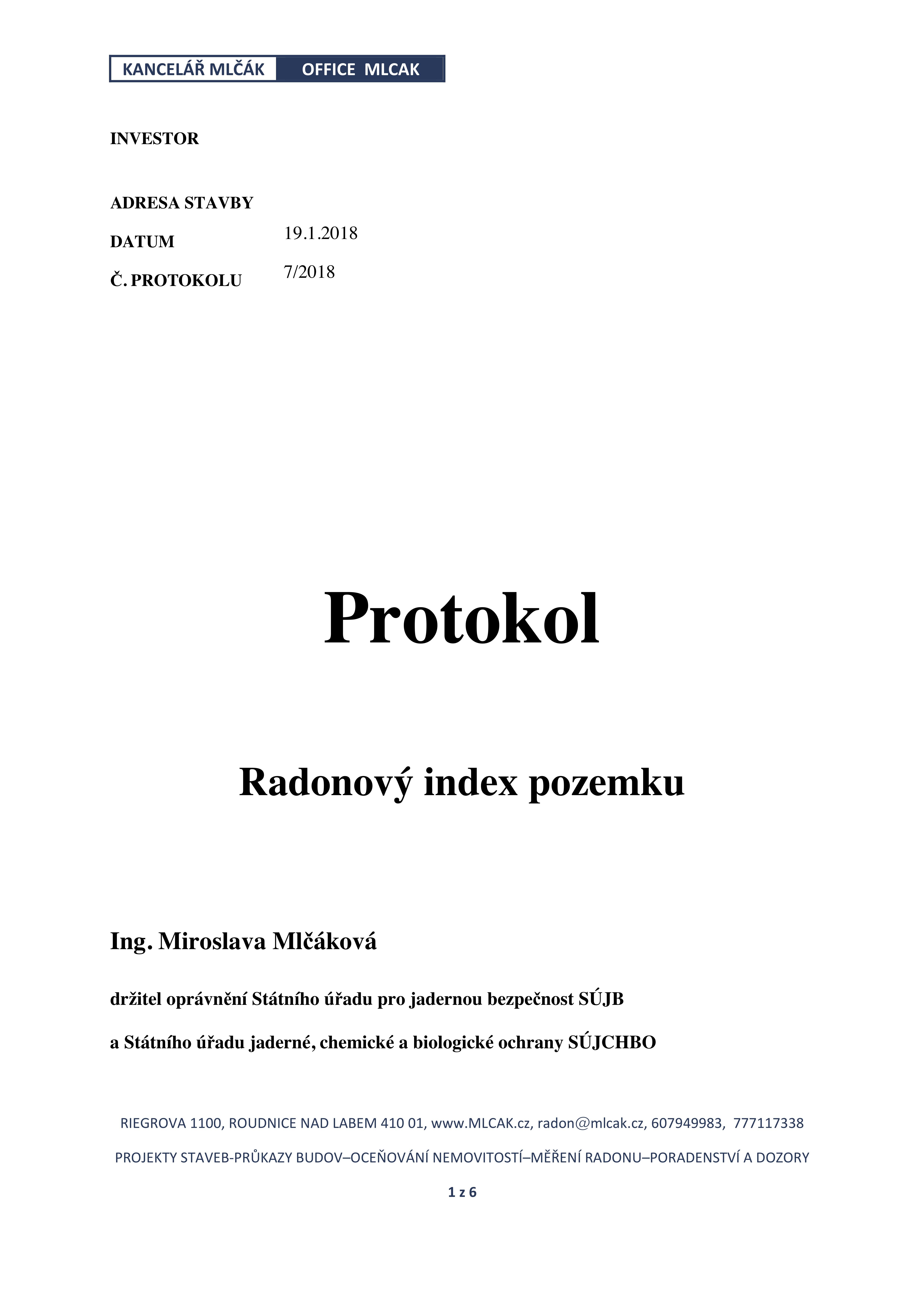 Protokol o měření radonu str. 1