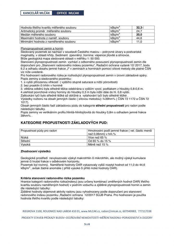 Protokol o měření radonu str. 5